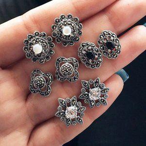 🆕 Vintage Rhinestone Stud Earrings - 4 Pairs